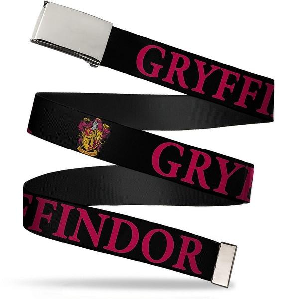 Blank Chrome Bo Buckle Harry Potter Gryffindor & Crest Black Red Web Belt
