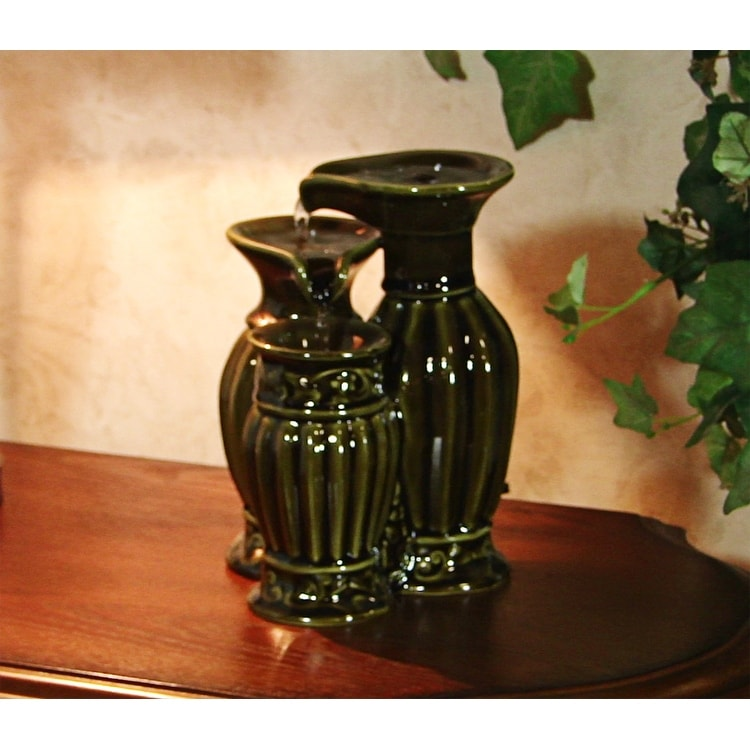 Ceramic Tabletop Fountain - Green - Thumbnail 0