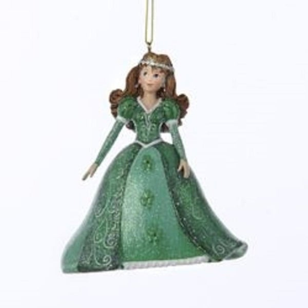 "4"" Pretty As a Princess ""Catherine"" Green Gown Brown Hair Christmas Ornament"