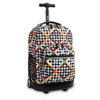 J World New York Sunrise 18 Inch Rolling Backpack, Checkers