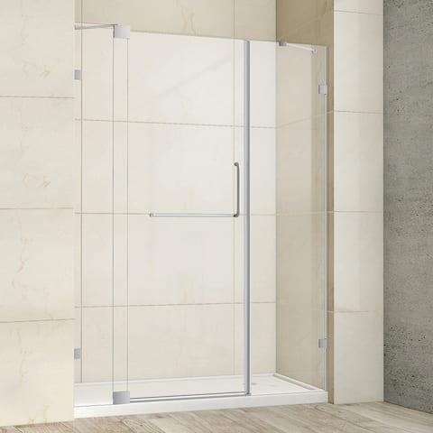 "Milano 60"" W x 72"" H Hinged Frameless Tub Door in Brushed Nickel - 60"" W x 72"" H"