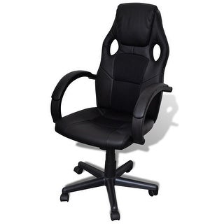 vidaXL Artificial Leather Office Chair Height Adjustable Swivel Black
