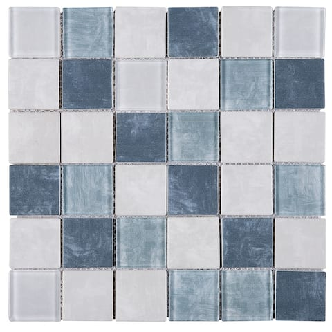 "TileGen. Recycle 2"" x 2"" Glass Mosaic Tile in Blue/Beige Wall Tile (11 sheets/10.56sqft.)"