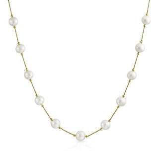 Bling Jewelry 14K Gold White Freshwater Cultured Pearl Bar Link Tin Cup Necklace (2 options available)
