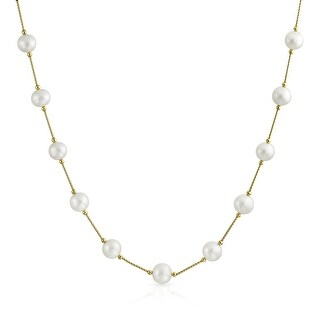 Bling Jewelry 14K Gold White Freshwater Cultured Pearl Bar Link Tin Cup Necklace