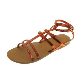 Zara Basic Womens Leather Metallic Gladiator Sandals