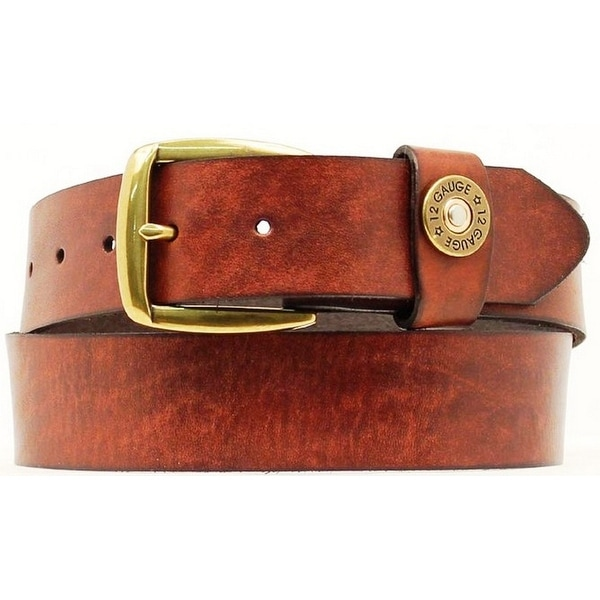 Nocona Western Belt Mens Leather Smooth Shotgun Shell Wine