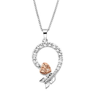 Curved Arrow Pendant with Diamonds in Sterling Silver with Rose Gold Plating