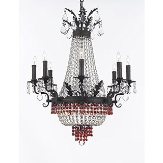 Empire Crystal Chandelier With Red Crystals