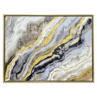 Framed Embellished Canvas Oil Painting - Gold & Black Abstract Waves