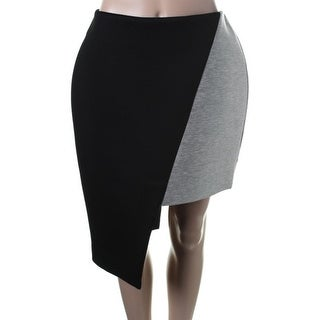 Josh Goot Womens Neoprene Colorblock Asymmetrical Skirt