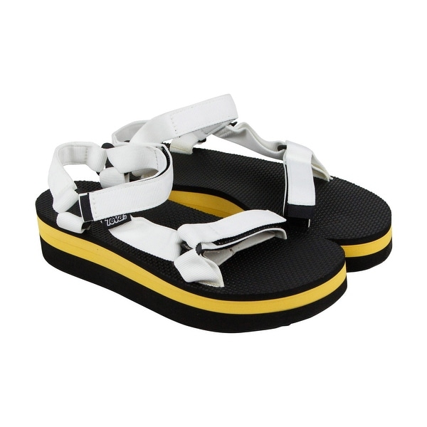 Teva Flatform Universal Womens White Black Textile Flip Flops Sandals Shoes