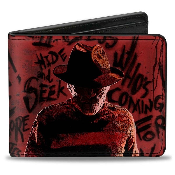 Freddy Pose2 + Hand Scratching Quote Scrawls Reds Black Bi Fold Wallet - One Size Fits most