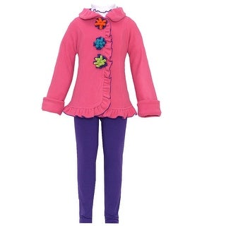 Good Lad Little Girls Fuchsia Flower Ruffle Leggings Shirt 3 Pc Coat Set 2-4T