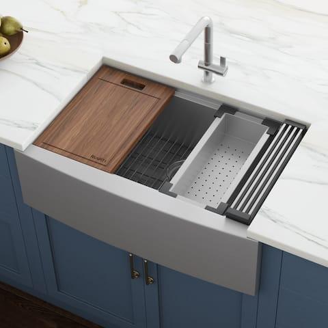 "Ruvati 33-inch Apron-front Workstation Farmhouse Kitchen Sink 16 Gauge Stainless Steel Single Bowl - RVH9200 - 33"" x 22"""