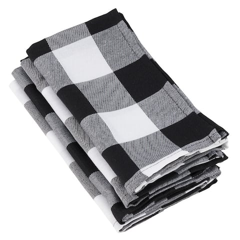 Buffalo Plaid Check Pattern Design Cotton Napkins (Set of 4)