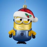 """Pack of 6 Despicable Me Glass Minion with Christmas Hat Ornaments 5"""" - YELLOW"""