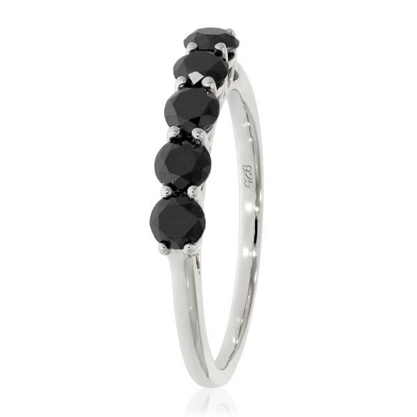 Prism Jewel 1.00 Carat Round 3.60MM Black Diamond 5-Stone Ring