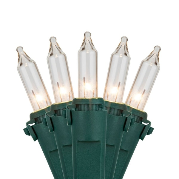 "Wintergreen Lighting 15213 25.5' Long Outdoor Commercial 50 Mini Light Holiday Light Strand with 6"" Spacing and Green Wire"