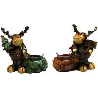 Pinecone Moose Candleholders Set of Two
