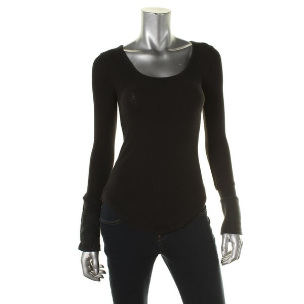 Free People Womens Pullover Top Fitted Cuff Sleeves