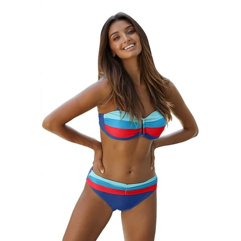 Cali Chic Women's Two Piece Swimsuit Celebrity Sky Blue Gradient Color Block Push up Bikini Swimwear