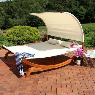Sunnydaze Natural Colored Outdoor 2 Person Wood Lounger with Canopy for Patio