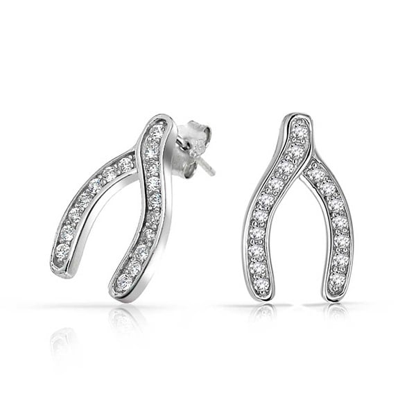 24aa121ab Shop Lucky Colorless Cubic Zirconia Stud Earrings Pave Clear CZ 925  Sterling Silver - On Sale - Free Shipping On Orders Over $45 -  Overstock.com - 18108329