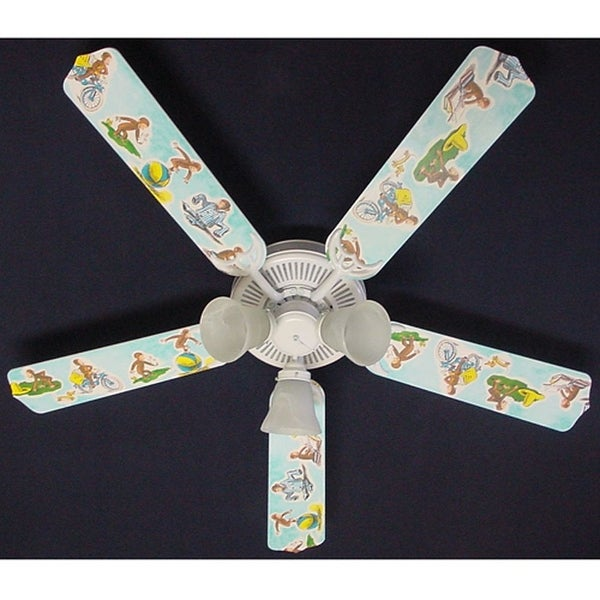 Classic Curious George Print Blades 52in Ceiling Fan Light Kit - Multi