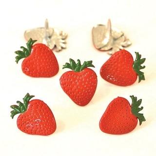 Eyelet Outlet Shape Brads 12/Pkg-Strawberries