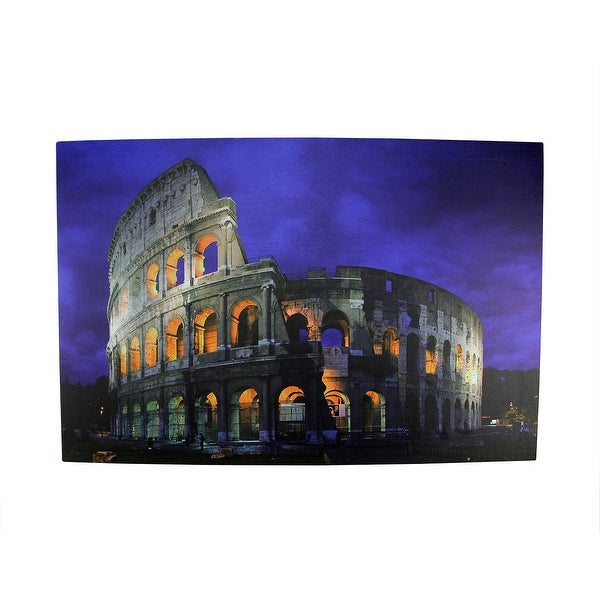 "LED Lighted Famous Roman Colosseum Italy Canvas Wall Art 15.75"" x 23.5"""