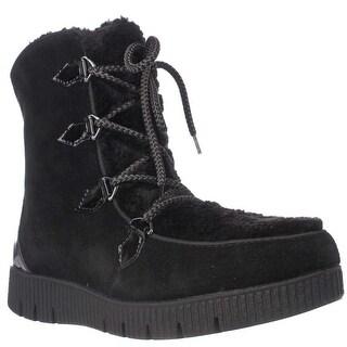 Sporto Cream Platform Lace Up Winter Boots, Black