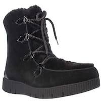 Sporto Cream Platform Lace Up Winter Boots, Black