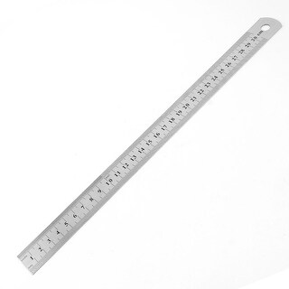 """Unique Bargains Stainless Steel 13.2"""" Straight Ruler Educational Students Stationery Measuring Tool Silver Tone Black"""