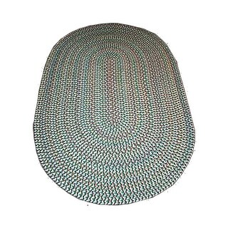 Kitchen Rug Green/Multi Braided Rug Nylon Casual 7' x 9'