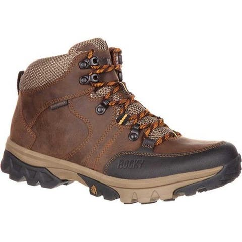 "Rocky Men's 5"" Endeavor Point Waterproof Outdoor Boot Brown Full Grain Leather"