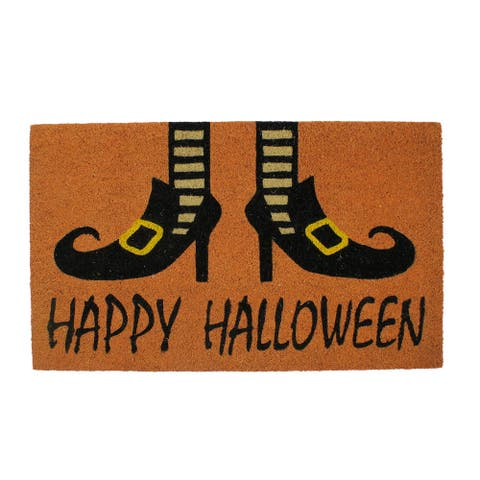 "Happy Halloween and Wicked Witch Shoes Door Mat 18"" x 30"""