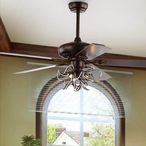 "SAFAVIEH Lighting 52-Inch Sensa Ceiling Light Fan (with Remote) - 52"" W x 52"" L x 25.5"" H"