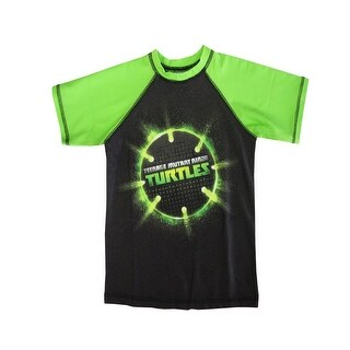 Nickelodeon Boys Green Black TMNT Ball Print Short Sleeve Rashguard