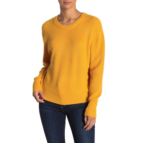 ELODIE Mustard Yellow Women's Size XL Pullover Crewneck Sweater