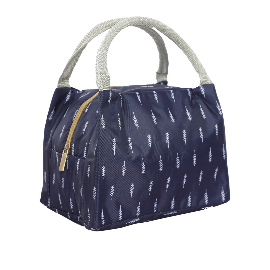 Blue and White Dot Zippered Padded Lunch Bag Tote Bag Purse Cotton Handmade