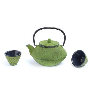 GURO Cast Iron 27 Ounces / 0.8L Green Japanese Teapot and Two Matching Cups Set - Sigma