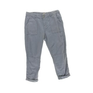 Calvin Klein Jeans Womens Cropped Pants Linen Cuffed