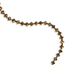 Light Brown Crystal Beaded Necklace - 16in