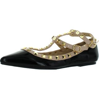 Wild Diva Womens Fashion Pippa 35 Studs Pointy T Bar Flats Shoes