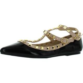 Wild Diva Womens Pippa-35 Fashion Pippa Studs Pointy T Bar Flats Shoes