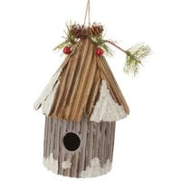 "6"" Country Cabin Frosted and Glittered Gray Birdhouse Christmas Ornament"