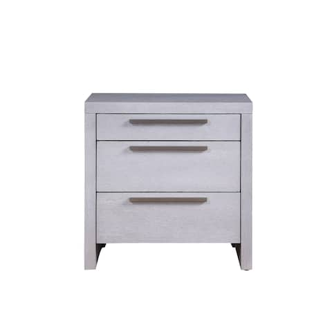 ACME Aromas Nightstand with 3 Drawers in White Oak