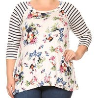 Women - Plus Size Striped Sleeve Floral Printed Raglan Jersey Tunic Knit Top Tee White