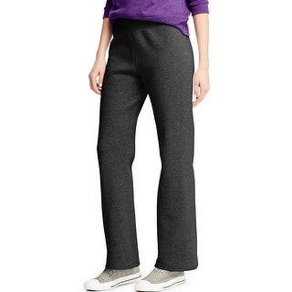 Hanes ComfortSoft ; EcoSmart® Women's Petite Open Leg Sweatpants - Size - L - Color - Ebony